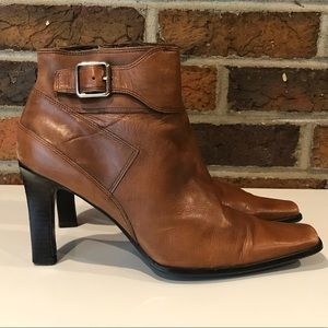 Nine West Brown Leather Booties Size 7.5